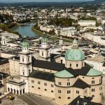View of Salzburg from 11th century fortress overlooking the city